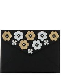Rebecca Minkoff Metallic Floral Envelope Clutch Bag
