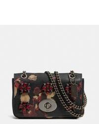 Black Floral Leather Crossbody Bag