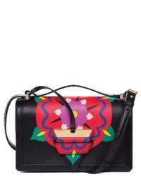 Loewe Barcelona Floral Leather Crossbody Bag Black