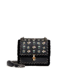 Fendi Mini Kan Beaded Flowers Calfskin Leather Shoulder Bag