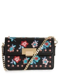 Topshop Rosie Floral Stud Faux Leather Crossbody Bag Black