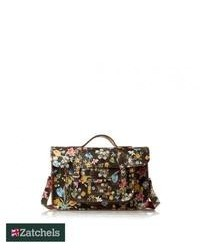 Zatchels cracked leather satchel black floral medium 110975