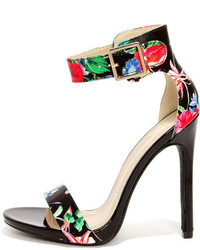 Black Floral Leather Heeled Sandals