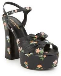 Saint Laurent Candy Floral Leather Platform Sandals