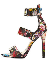 Charlotte russe anne michelle floral strappy stiletto sandals medium 147456