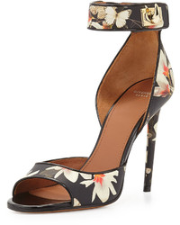 Givenchy Floral Print Leather Ankle Wrap Sandal