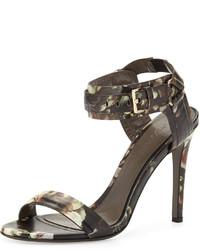 Jason Wu Floral Print Leather Ankle Wrap Sandal
