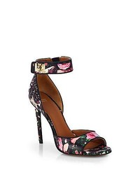 Givenchy Rose Camouflage Print Leather Sandals Floral