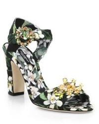 Dolce & Gabbana Jewel Embellished Floral Print Sandals