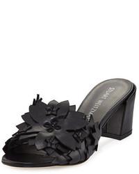 Leaflet floral mid heel slide sandal medium 3719138