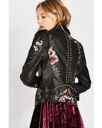 Blank NYC Blanknyc As You Wish Floral Embroidered Moto Jacket