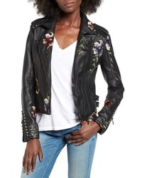 Blanknyc embroidered faux leather moto jacket medium 3665484