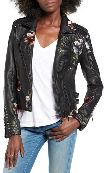 Blank NYC Blanknyc Embroidered Faux Leather Moto Jacket