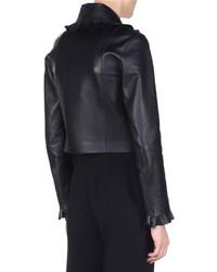 Fendi Floral Embellished Leather Bomber Jacket Black