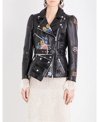 Alexander McQueen Floral Embroidered Leather Biker Jacket