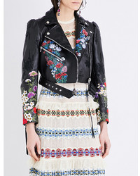 Alexander McQueen Floral Embroidered Leather Jacket