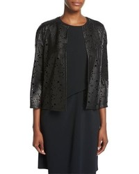 Escada Floral Laser Cut Leather Jacket Black