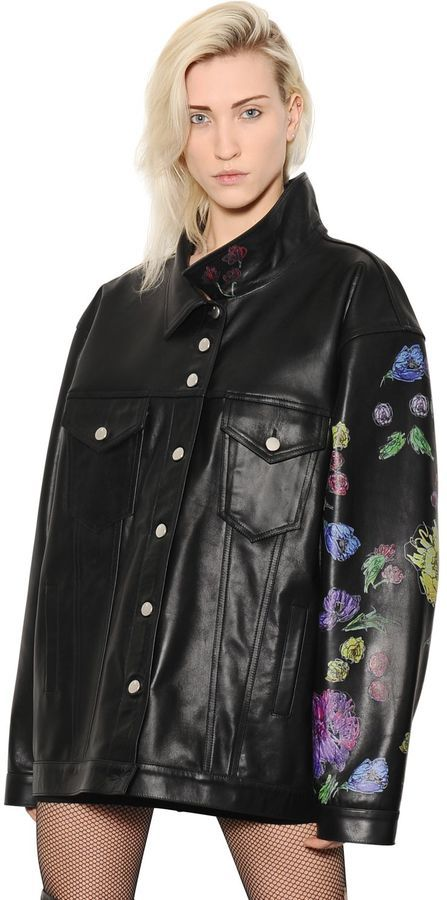 Oversized Floral Printed Leather Jacket