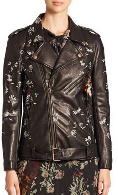 Etro Painted Floral Dragon Motif Leather Jacket