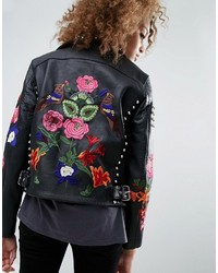 Premium leather biker jacket with floral embroidery and stud detail medium 3665481