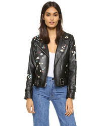 Sandy liang floral delancey leather jacket medium 3665473