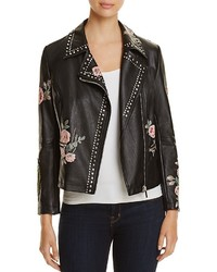 Bagatelle Studded Floral Faux Leather Moto Jacket