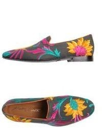 Black Floral Leather Loafers