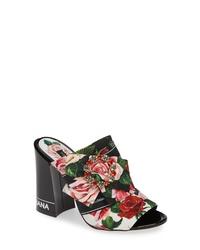 Dolce & Gabbana Rose Block Heel Sandal
