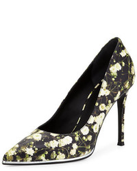Black Floral Leather Pumps