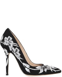 110mm Floral Embroidered Suede Pumps