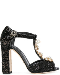 Dolce & Gabbana Sequinned Mary Jane Pumps With Floral Jewel Embellishts