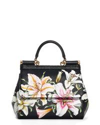 Dolce & Gabbana Small Sicily Lily Print Leather Satchel