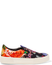 Black Floral Leather Slip-on Sneakers