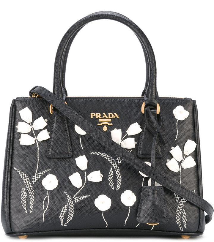 dd59dcfff685 Mini Galleria Tote. Black Floral Leather Tote Bag by Prada
