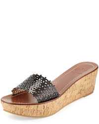 Tory Burch Floral Patent Leather Wedge Sandal Black