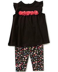 Baby Starters Baby Girls 3 12 Months Rosette Detailed Tunic And Floral Printed Leggings Set