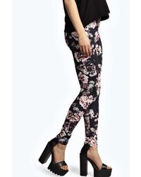 Boohoo Jania Floral Print Jersey Leggings