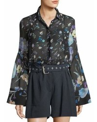 3.1 Phillip Lim Bell Sleeve Button Down Floral Print Silk Chiffon Blouse