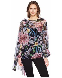 Prabal Gurung Floral Chiffon Long Sleeve Top W Scarf Blouse