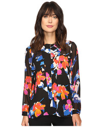 Long sleeve floral rendezvous keyhole blouse medium 3667025
