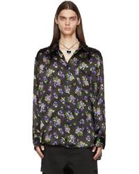 Vetements Black Acid Flowers Fluid Shirt