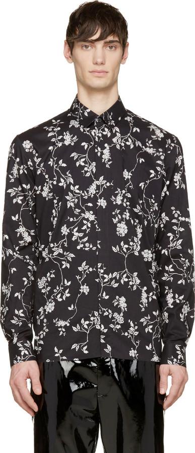 aa89f550d51 $690, Haider Ackermann Black Floral Print Shirt