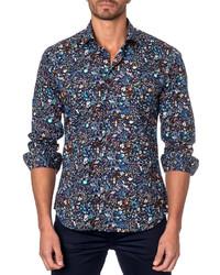 b9ee591778a70 ... Jared Lang Floral Print Sport Shirt Black