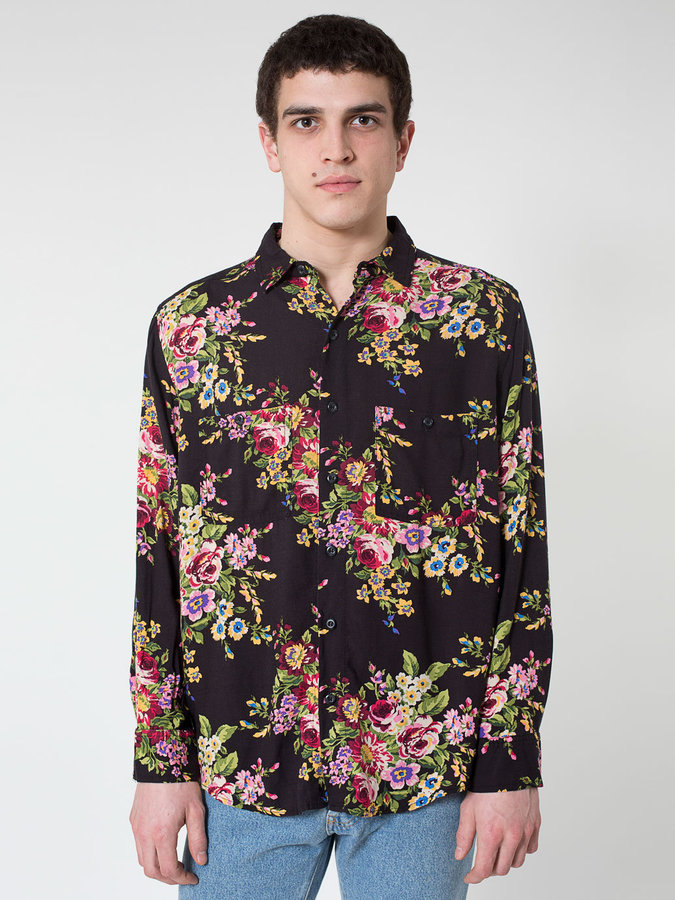 6c371ad64e8 ... Black Floral Long Sleeve Shirts American Apparel Printed Rayon Long  Sleeve Button Up ...