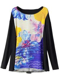 Choies Black Floral Long Sleeve T Shirt