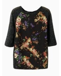 Choies New Look Black Floral Print T Shirt