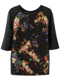 Romwe Dual Tone Floral Print Black T Shirt