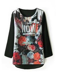 Romwe Floral Print Asymmetric Black T Shirt