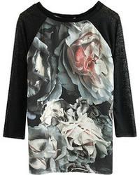 ChicNova Long Sleeve Floral Print Splicing T Shirt