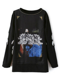 Romwe Abstract Pattern Print Long Sleeves Black T Shirt